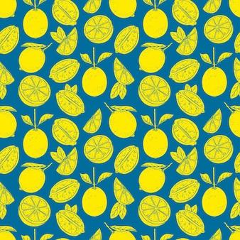 黄色いレモンとのシームレスなパターン