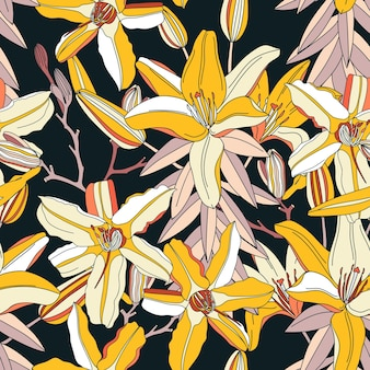 Seamless pattern with yellow lily flowers.