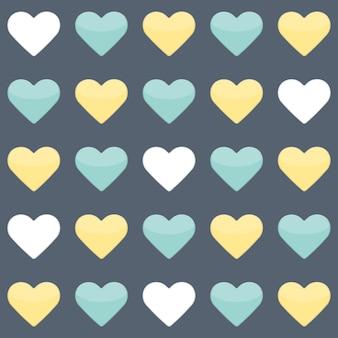 Бесшовный фон с желтой мятой и белыми сердцами над синим. векторная иллюстрация