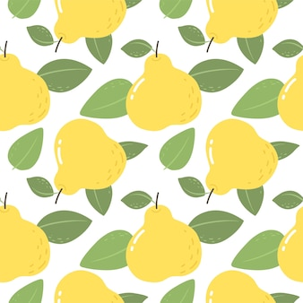 Seamless pattern with yellow pears bright pattern for wallpaper fabric and paper vector