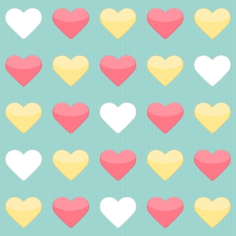 Бесшовный фон с желтыми красными и белыми сердцами над мятой. векторная иллюстрация