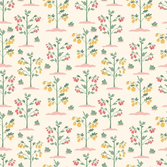 Seamless pattern with yellow and red cherry tomatoes