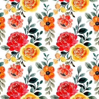 黄赤色の花の水彩画とのシームレスなパターン