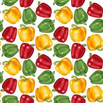 Seamless pattern with yellow, red and green bell peppers, hand drawn
