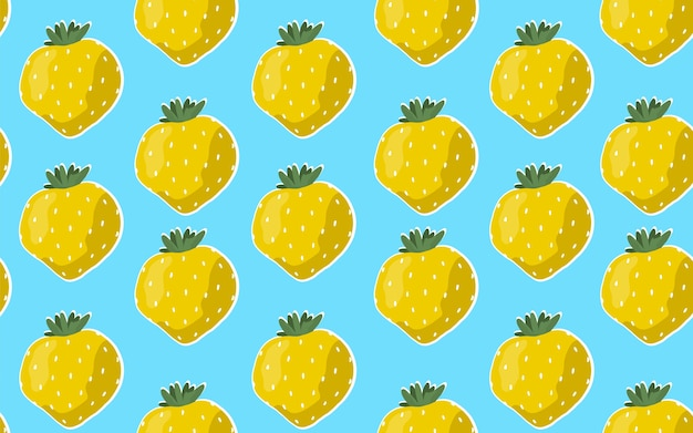 青色の背景に黄色のイチゴとのシームレスなパターン。