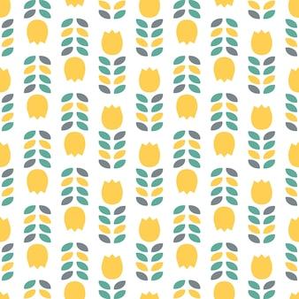 黄色いチューリップと葉とのシームレスなパターン