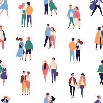 Seamless pattern with young couples on romantic date, with men and women in love holding hands and walking together
