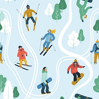 Seamless pattern with young people at mountain resort.
