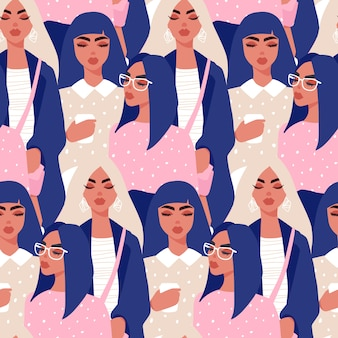 Seamless pattern with young women in modern style. young people .