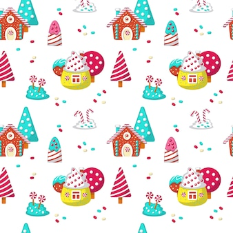 Seamless pattern with yummy sweet candies