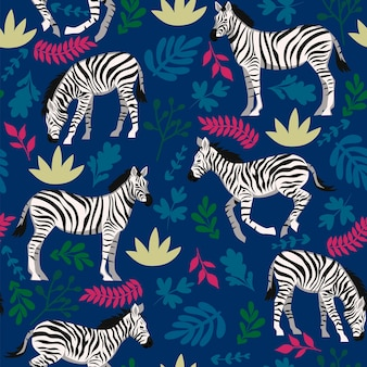 Seamless pattern with zebras and plants