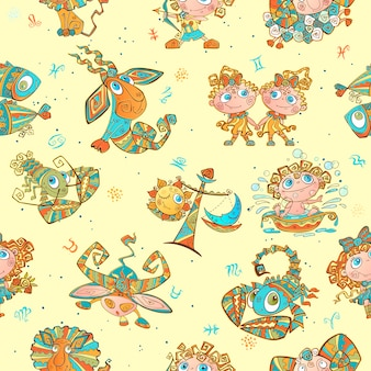 Seamless pattern with zodiac signs for kids.