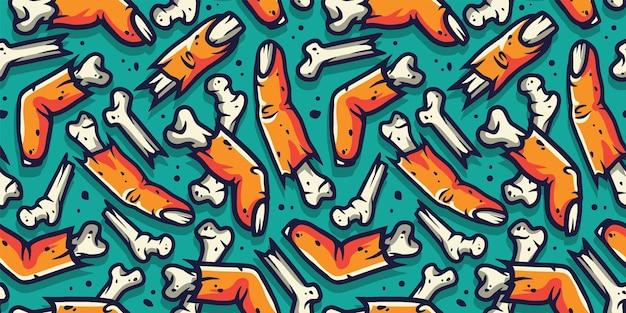 할로윈 휴가 디자인 10월 파티 포스터를 위한 좀비 손가락과 뼈가 있는 원활한 패턴