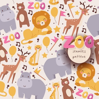 Seamless pattern with zoo animals lion hippo deer bear and cat in cartoon style isolated on white background