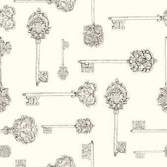 Seamless pattern withhand drawn antique keys. vintage keys with floral elements, butterflies and birds.  hand drawn vector illustration.
