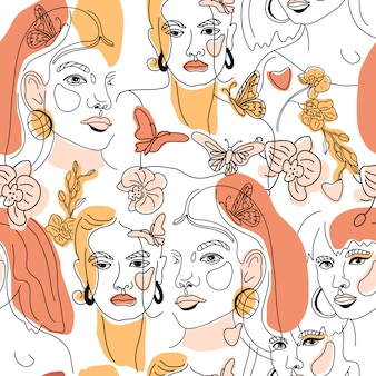 Seamless pattern of womans face minimal line style ol-line drawing. abstract contemporary color collage of geometric shapes.   female portrait. beauty concept, t-shirt print, card, poster,fabric.