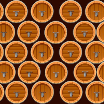 Seamless pattern of wooden wine or beer barrels flat illustration