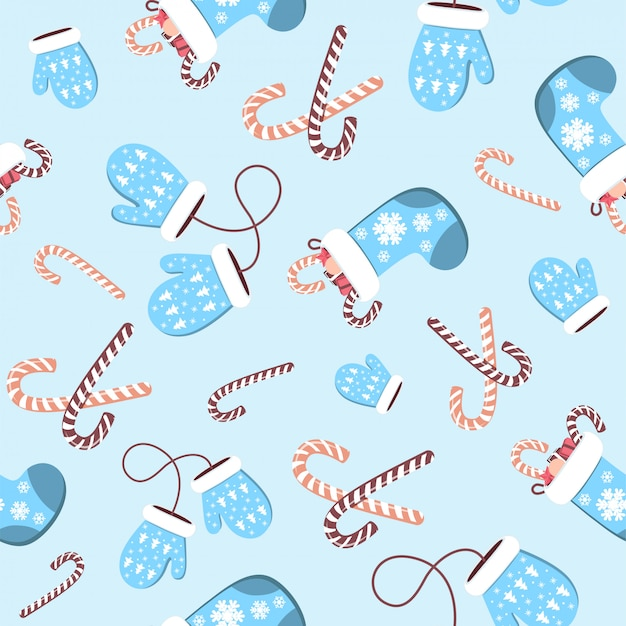 Seamless pattern of woolen blue mitten and christmas socks