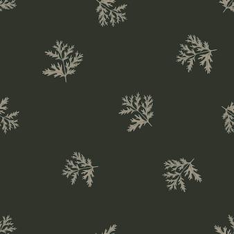 Бесшовный фон полынь на темно-сером фоне. красивый растительный орнамент. случайный шаблон текстуры для ткани.