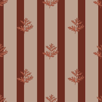 Бесшовный фон полынь на фоне полосы коричневый. красивый растительный орнамент. шаблон геометрической текстуры для ткани.