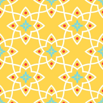 Seamless pattern yellow arabic ornamental ceramic tile