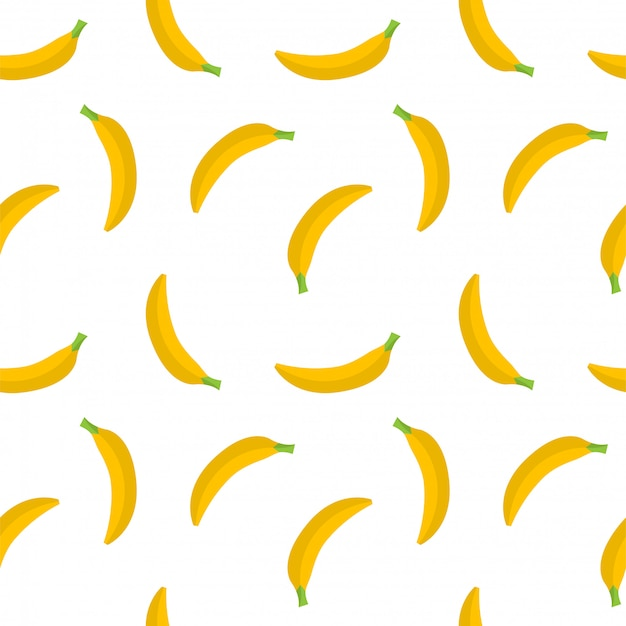 Seamless  pattern of yellow bananas on a white background. yellow fruit.