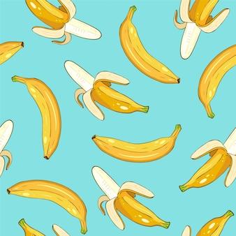 Seamless pattern of yellow bananas