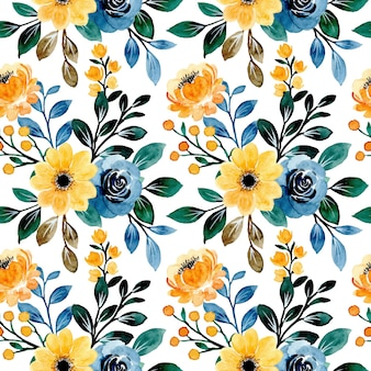 Seamless pattern of yellow blue floral watercolor