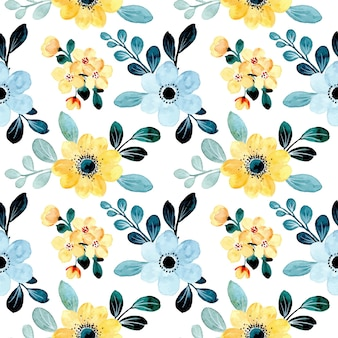 Seamless pattern of yellow blue floral with watercolor