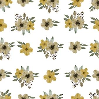 Seamless pattern of  yellow bouquet