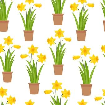 Seamless pattern of yellow daffodils on white background.