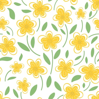 Seamless pattern of yellow daisies on a white background