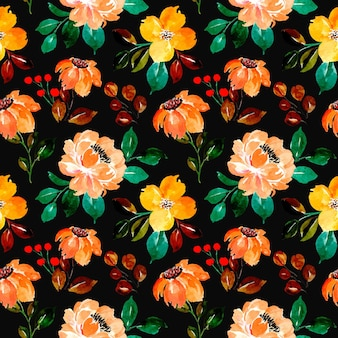 Seamless pattern of yellow floral watercolor with black background