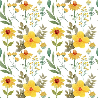 Seamless pattern of yellow flower with watercolor