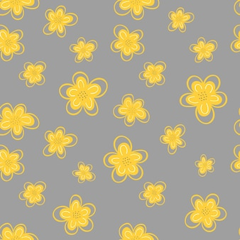 Seamless pattern of yellow flowers on a gray background