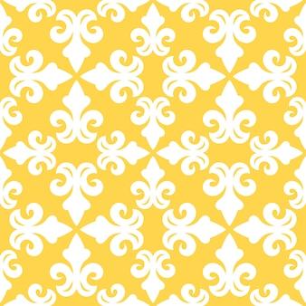 Seamless pattern yellow french ornamental ceramic tile