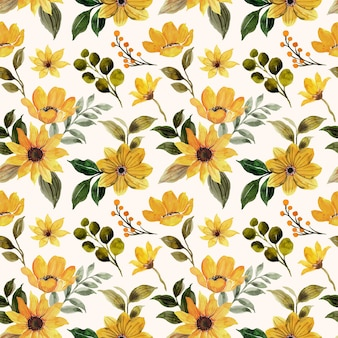 Seamless pattern of yellow green floral with watercolor