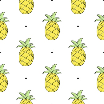Seamless pattern of yellow hand drawn pineapple for design. endless pattern on white background for print, textile, packaging