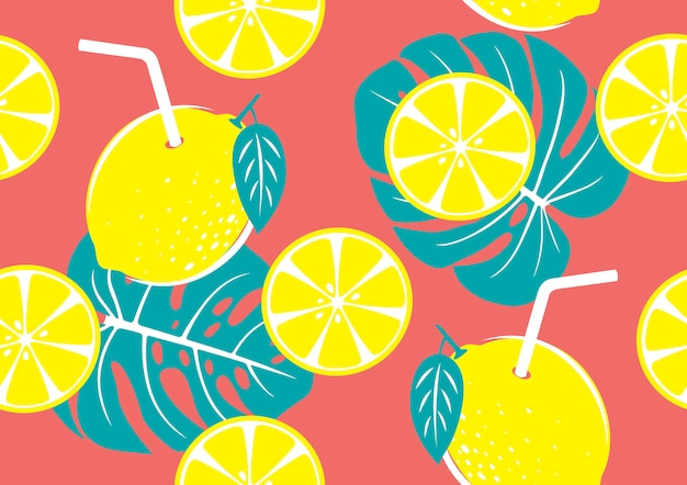 Seamless pattern of yellow lemon and tropical leaves