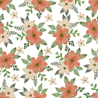 Seamless pattern of yellow and orange flowers for fabric and background design