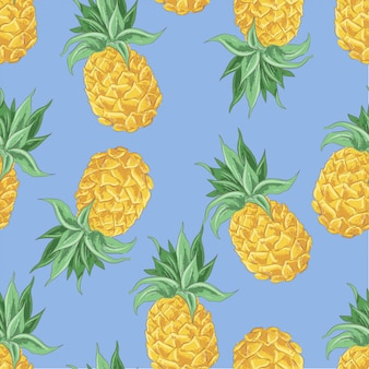 Seamless pattern of yellow pineapples. vector illustration