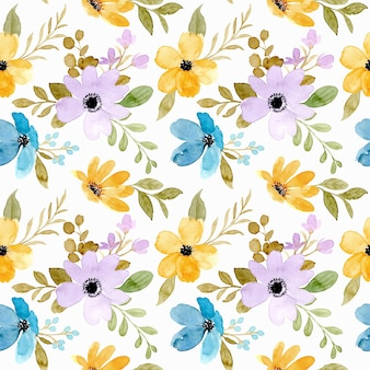 Seamless pattern of yellow purple flower with watercolor