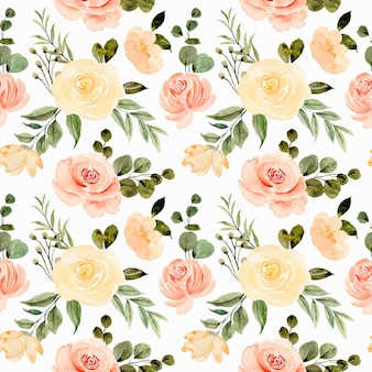 Seamless pattern of yellow rose flower watercolor