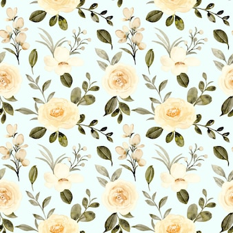Seamless pattern of yellow rose flower with watercolor
