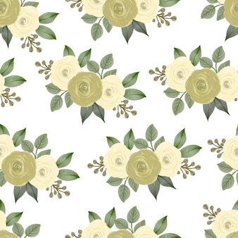Seamless pattern of yellow roses bouquet for background and fabric design