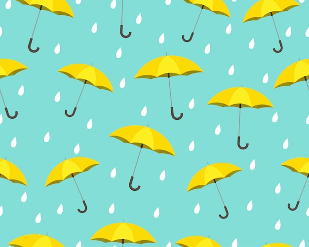 Seamless pattern of yellow umbrella with drops raining
