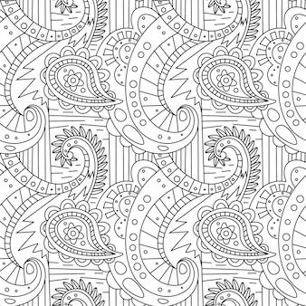 Бесшовная картина zentangle ornament coloring book page
