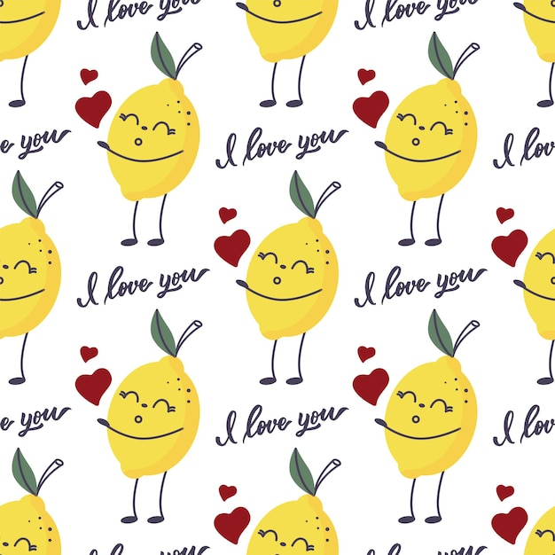 The seamless patternof a lemon with a lettering - i love you.