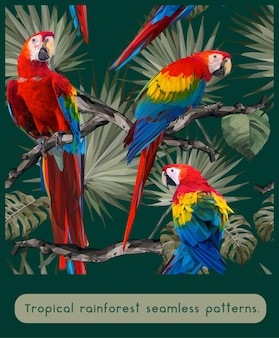 Seamless patterns of amazon tropical rainforest and colorful macaw birds.