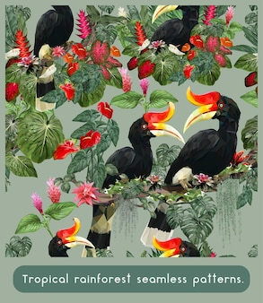 Seamless patterns of amazon tropical rainforest and colorful rhinoceros hornbill birds.